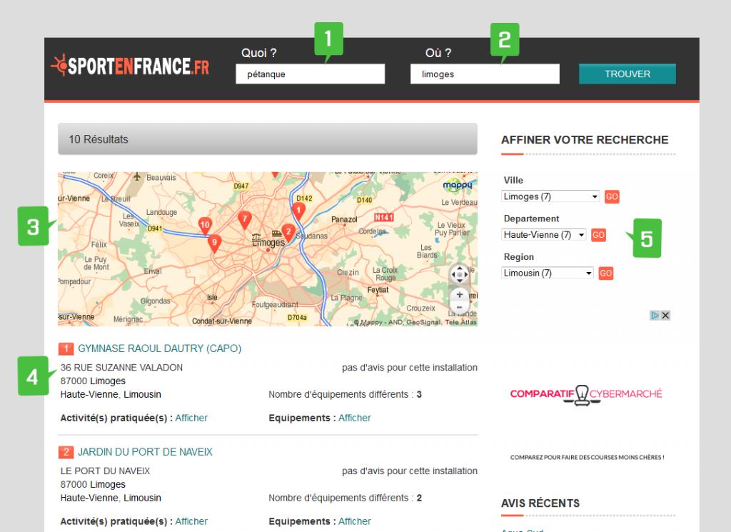 outil de recherche des equipements et installations sportives en France sur sportenfrance.fr guide des sports en france