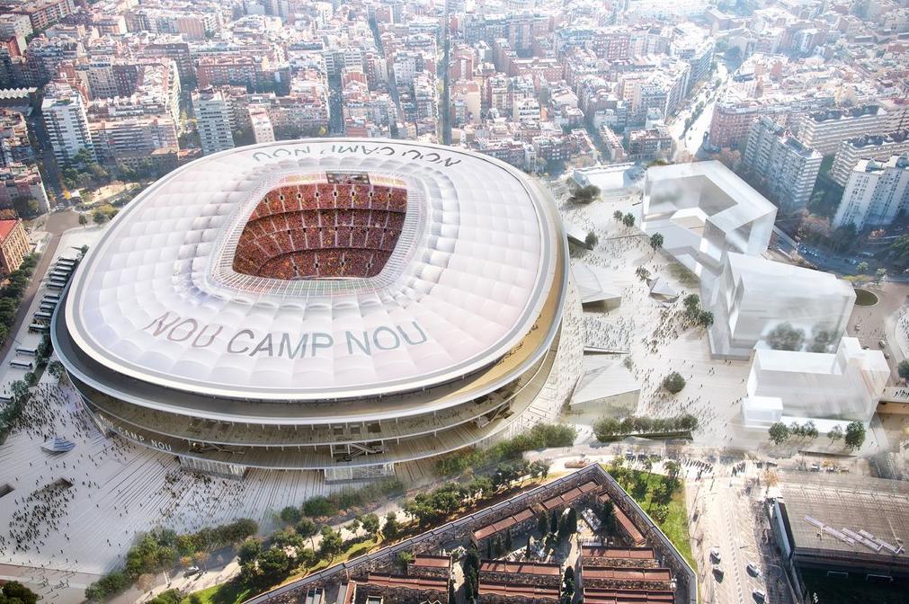 Vue virtuelle du projet d'amélioration du stade du Camp Nou vue de haut, Barcelone