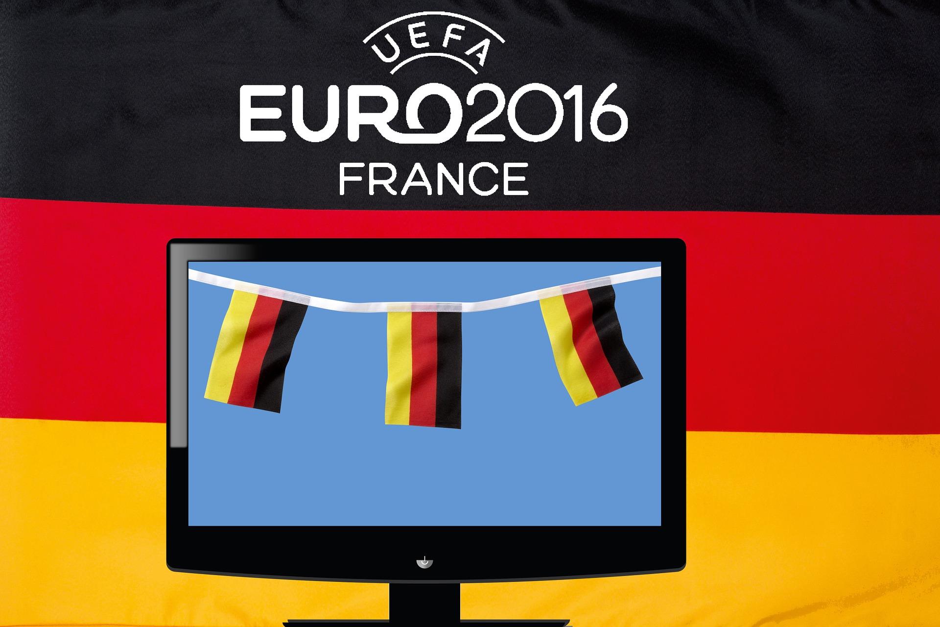 image illustrant l'euro 2016 sur fond de drapeau allemand